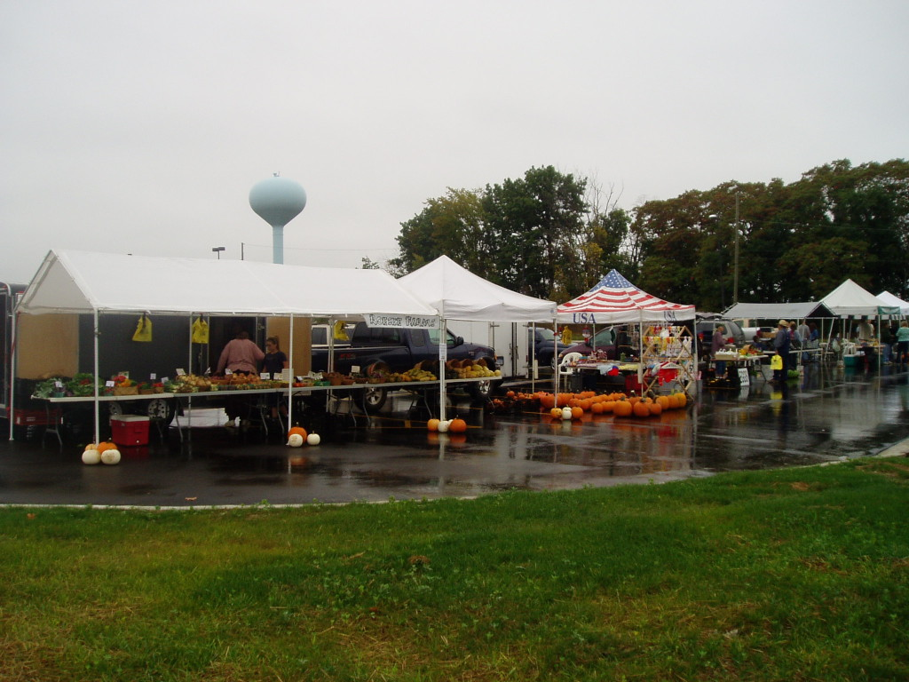 Tents are lined up with vendors ready and waiting for customers.