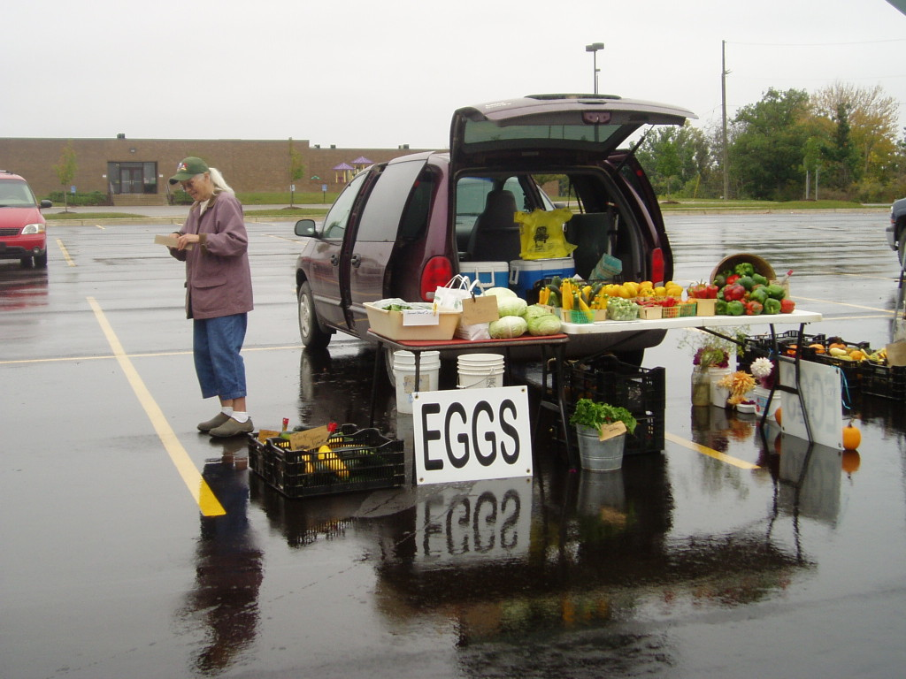 Another one of our vendors at the Hartland Farmer's Market with her vegetables and eggs.