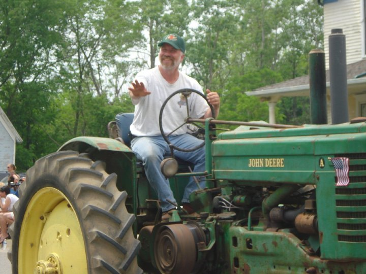 Eric drove his John Deere A tractor in the parade