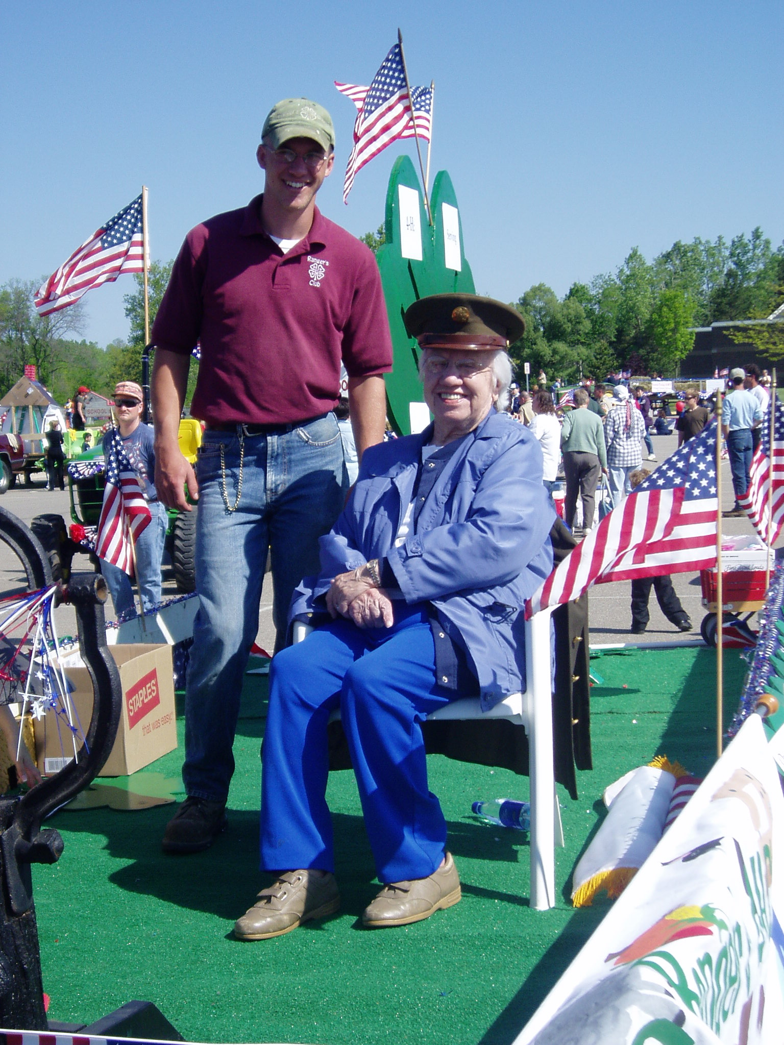 Steven and Grandma on the float in the parade